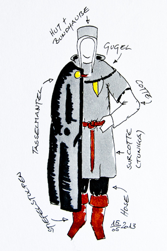 Des Reichsritters Knappe: Kleidungsskizze I